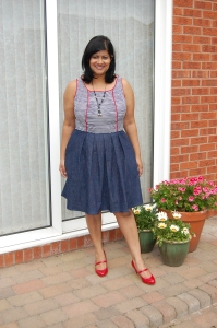Butterick 5781 Skater style 2-in-1 home made dress, red white and blue. Front view.