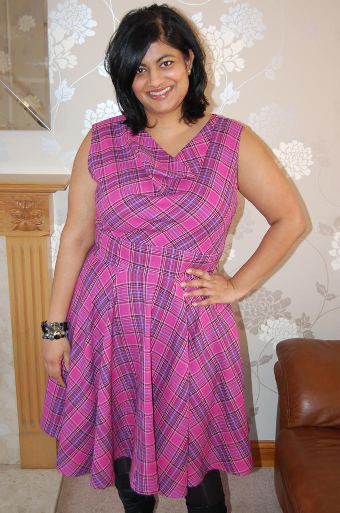 Vogue 8787 cowl neck flared dress