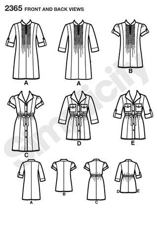Simplicity 2365 tunics pattern - line drawing