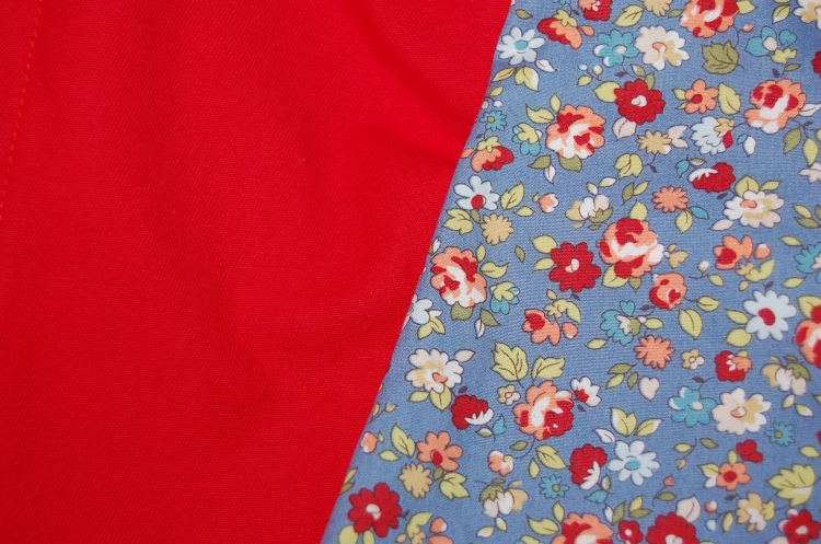 Poppy red stretch cotton twill and dusk blue floral print cotton