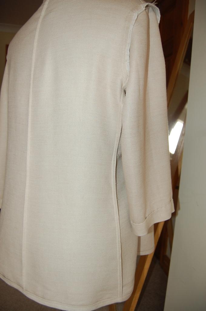 Simplicity 2250 linen mix jacket inside shot on dress form - back/ side panel