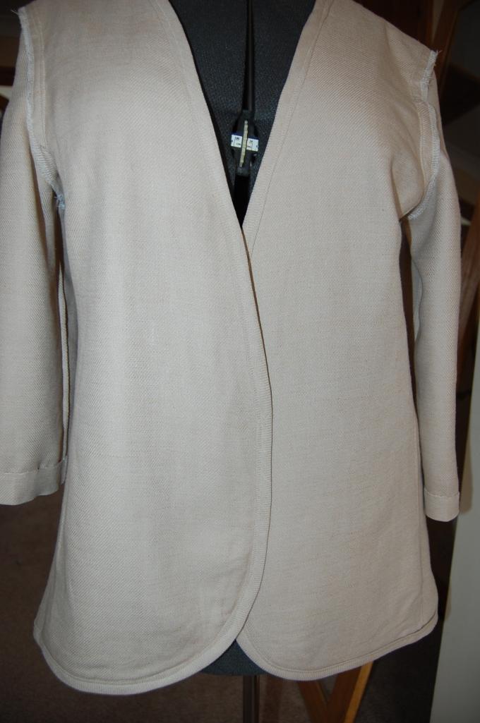 Simplicity 2250 linen mix jacket inside shot on dress form - front
