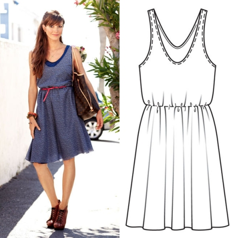 Burda dress 128 with technical drawing