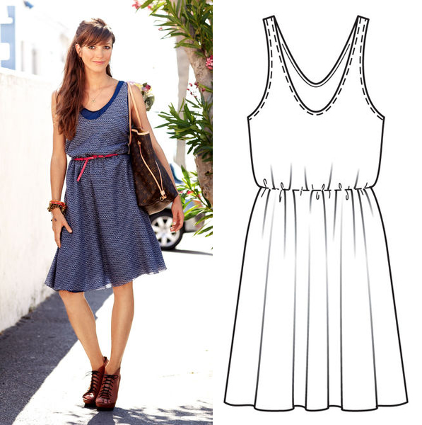Burda dress 128 with technical drawing
