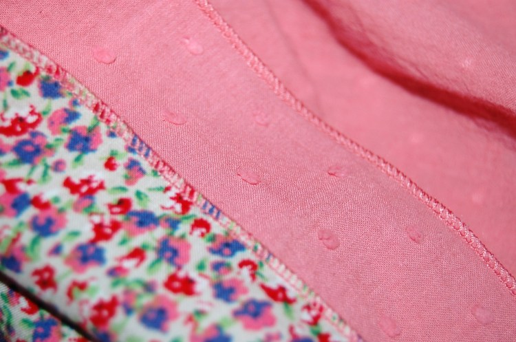 Close up of my rolled hems and the fabrics - the coral one is a dobby spot cotton, and the floral print is a cotton lawn