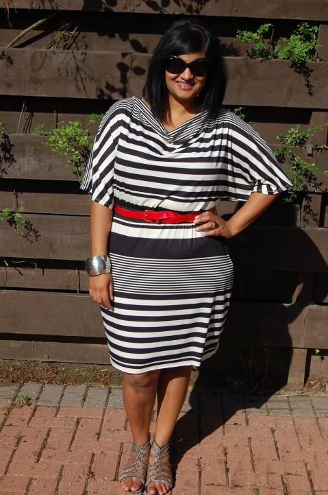 McCalls 6752 monochrome stripe cowl neck dress