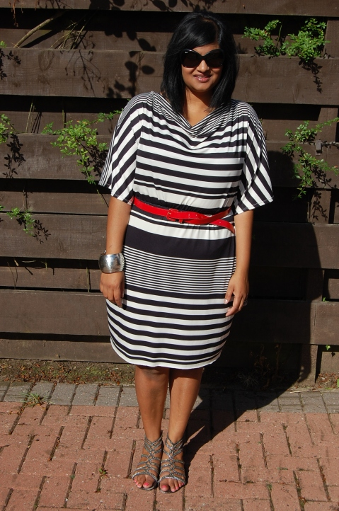 McCalls 6752 monochrome stripe cowl neck dress