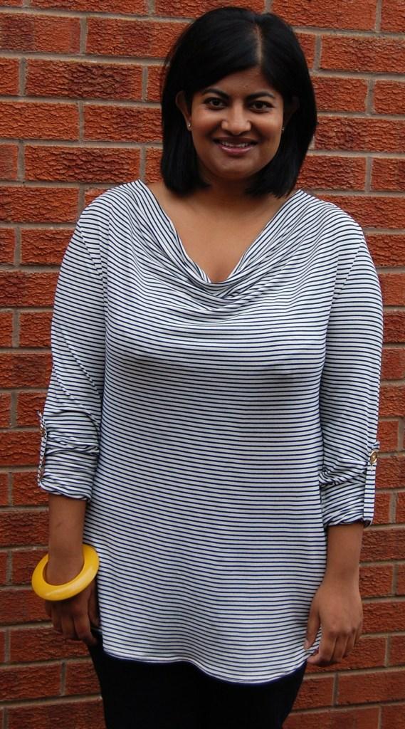 McCalls 6604 cowl neck stripe knit top