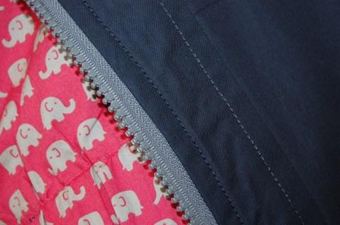 Sewaholic Minoru Jacket zip and topstitching detail