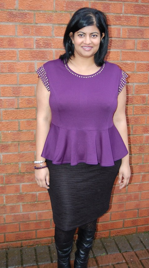Vogue 8936 studded peplum top