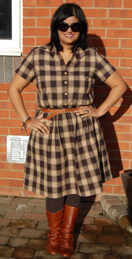 New Look 6180 plaid checked shirt dress