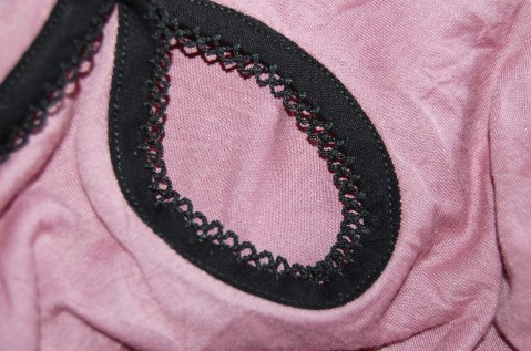 Close up of binding with picot edge