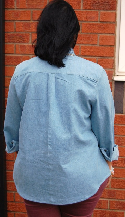 Grainline Archer Shirt in Denim - back