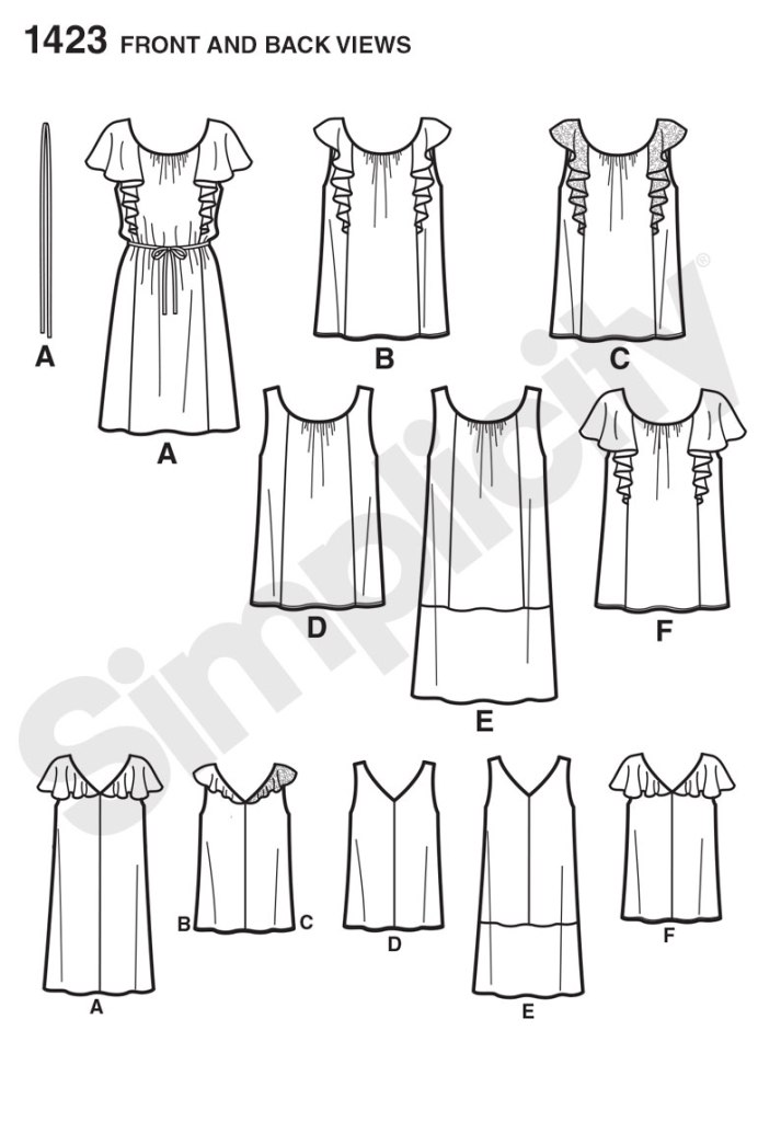 Simplicity 1423 line drawings