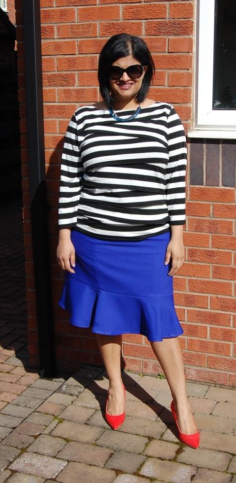Simplicity 1591: cobalt blue fluted hem skirt