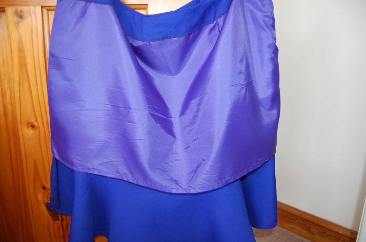 Simplicity 1591: cobalt blue fluted hem skirt - lining