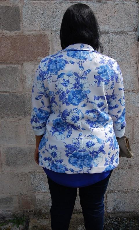 Butterick 5926 floral print scuba fabric blazer