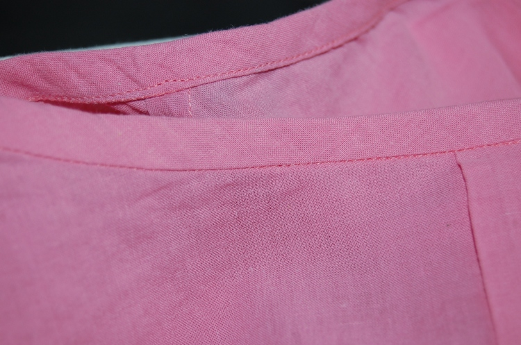 New Look 6225: easy cotton top - close up of binding