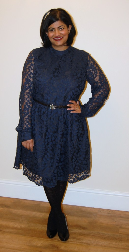 McCalls 6989: navy and black lace dress with cuffed sleeves