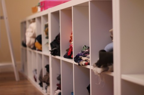 Kallax shelving to hold fabric