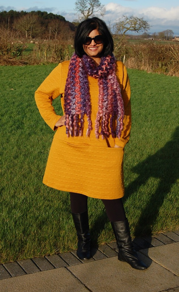 Mustard Saiph Papercut Tunic in quilted jersey