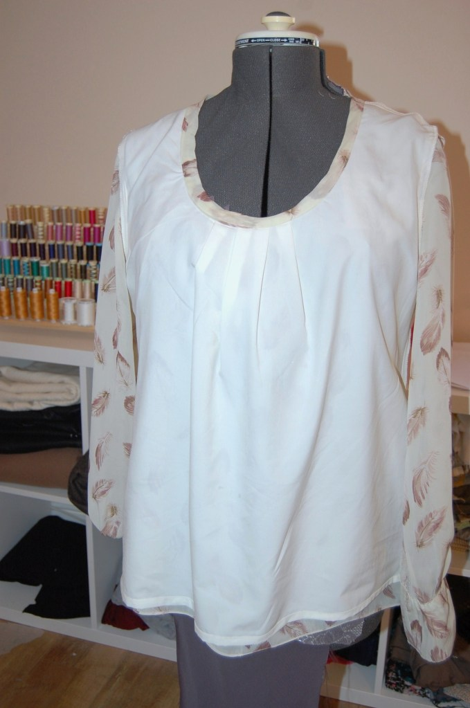 McCalls 6604: feather print chiffon top with pleated neckline - inside lining view