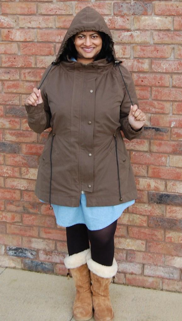 Khaki Waterproof Minoru Jacket - elasticated hood