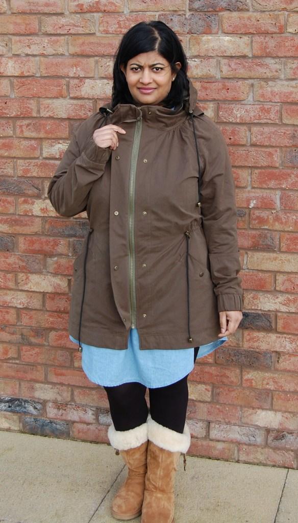 Khaki Waterproof Minoru Jacket - zipper guard with snaps