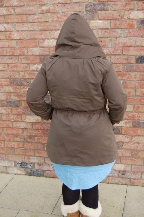 Khaki Waterproof Minoru Jacket - back view