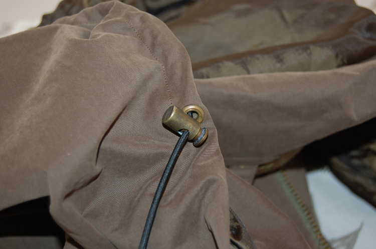 Khaki Waterproof Minoru Jacket - elasticated hood detail