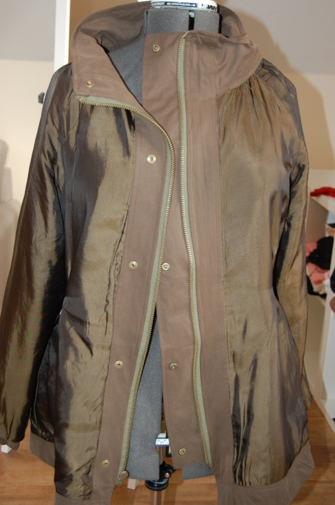 Khaki Waterproof Minoru Jacket - inside lining