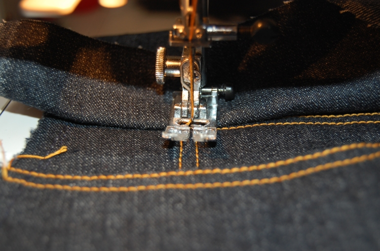 Sewing over thick layers of denim using an improvised humpjumper