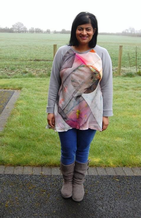 Vogue 8952: Woven Silk Front Wool Jersey Top