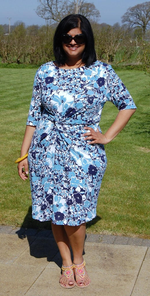Vogue 1359: Twist Front Floral Jersey Dress