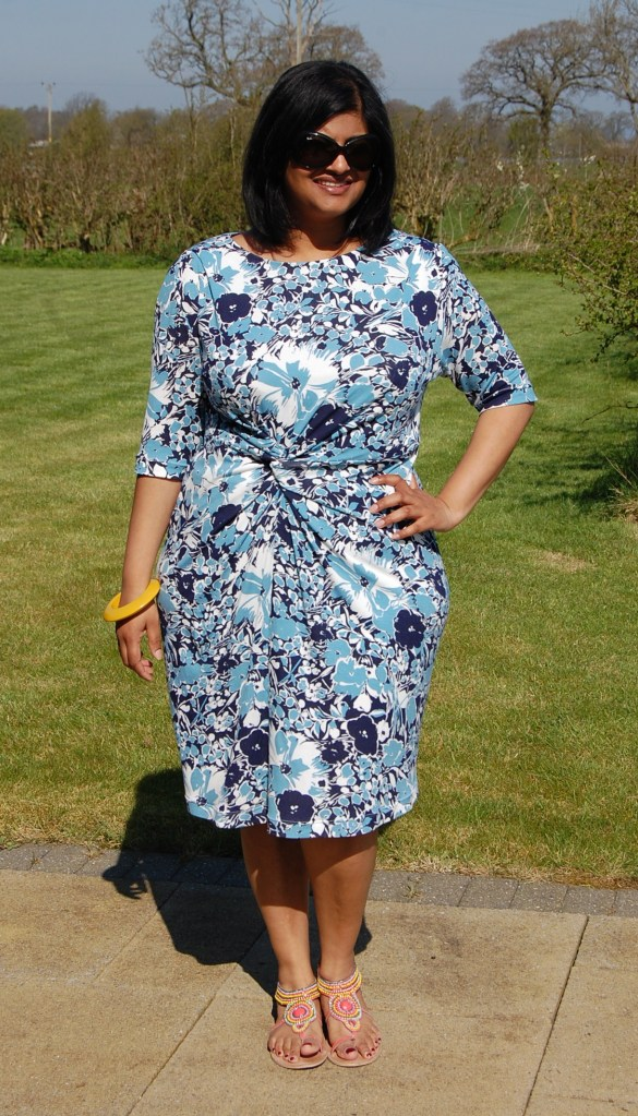 Vogue 1359: Twist Front Floral Jersey Dress