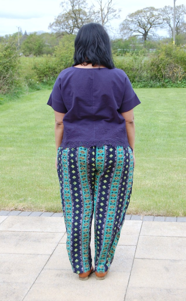 Butterick 6182 navy cotton cropped top and OOP McCalls 6291 tapered printed trousers pants