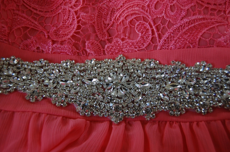 Vogue 8998 + McCalls 6987 DIY Ball Dress - close up of diamante belt detail