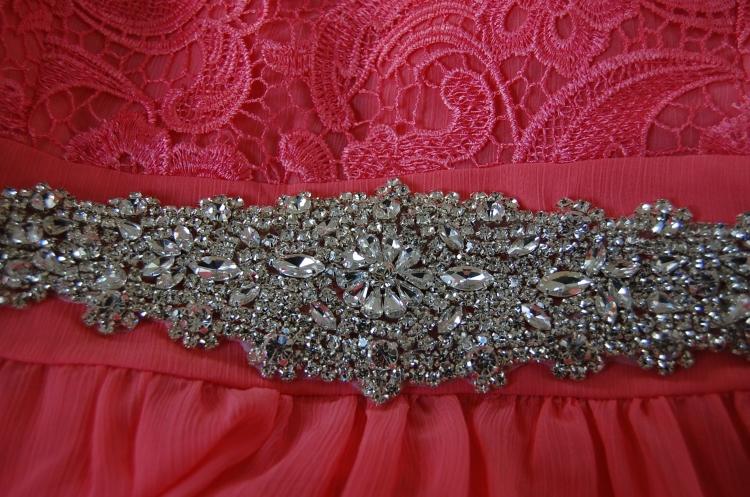 Vogue 8998 + McCalls 6987 DIY Ball Dress - close up of diamante belt detail