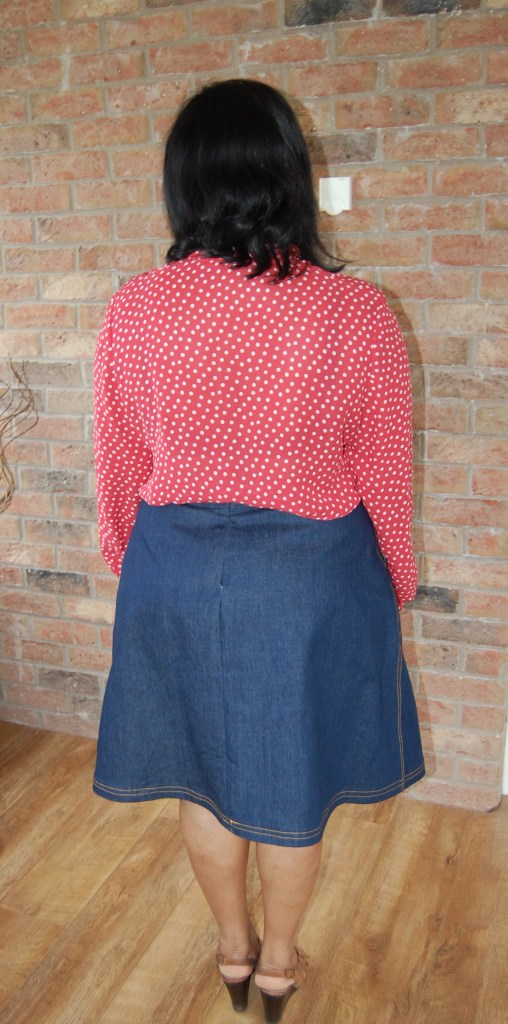 Sewoverit Pussy Bow Blouse and Butterick 6182 A-Line Dark Denim Skirt