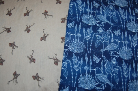 Moody Blues by Geninne - Sashiko Bird Navy Organic Cotton and Stag Print Cotton for Quilted Version of Vogue 7975
