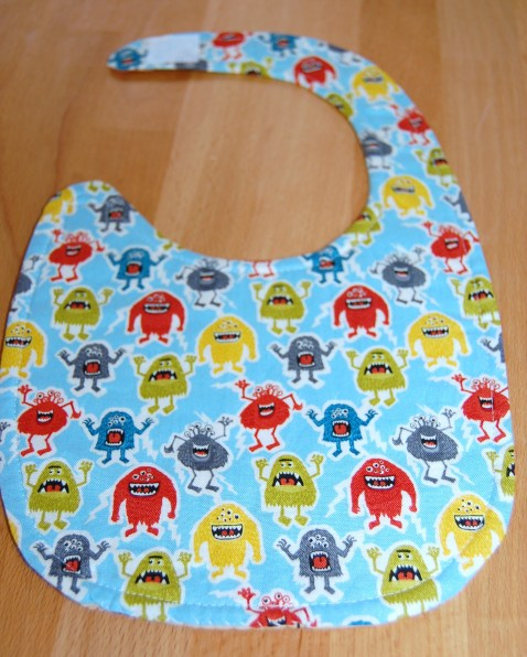 Quilt as you go baby bib - reverse