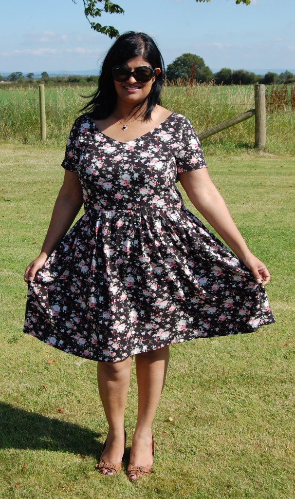 Butterick 5982: Dark Floral Viscose Fit and Flare Dress