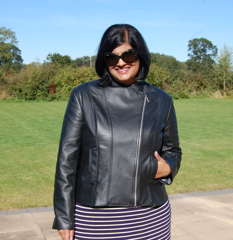 Butterick 6169: DIY Black Leather Collarless Biker Jacket