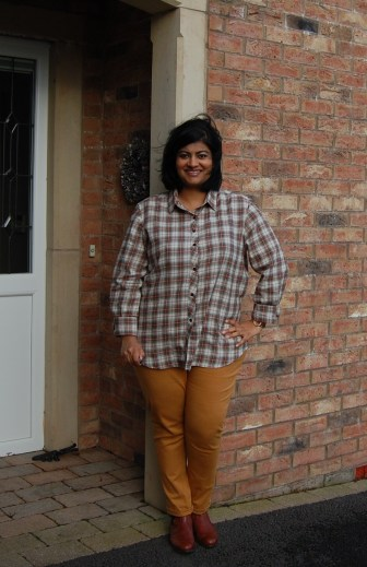 Jalie Eleonore Pull on Jeans: DIY Mustard Jeggings worn with Grainline Archer Shirt