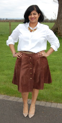 Simplicity 8019: Real Suede Leather Button Front Skirt