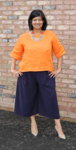 Simplicity 8093 and 1366: DIY Wide Leg Cropped Trousers Pants and Boxy Orange Linen Top
