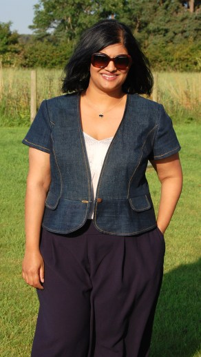 Burda 7494 denim peplum jacket made from refashioned jeans. Worn with Simplicity 8093 wide legged cropped pants.