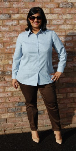 Butterick 5526 Princess seamed button down shirt worn with Simplicity 1167 chino style trousers
