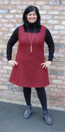 Vintage Style Pattern 3247 Wool Cashmere Mini Houndstooth Pinafore Jumper Dress