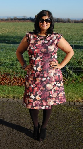 Simplicity 8213 Floral scuba sheath dress with front skirt overlay